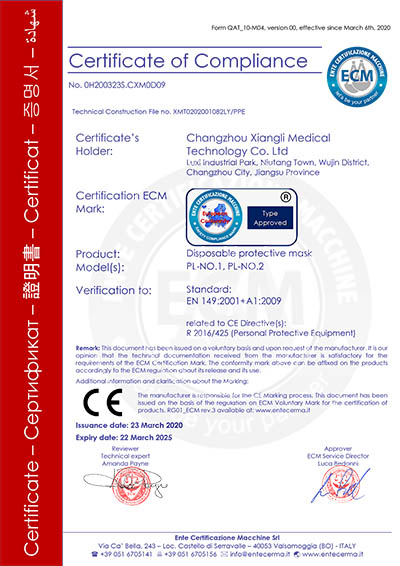 Disposable Face Masks CE Certificate